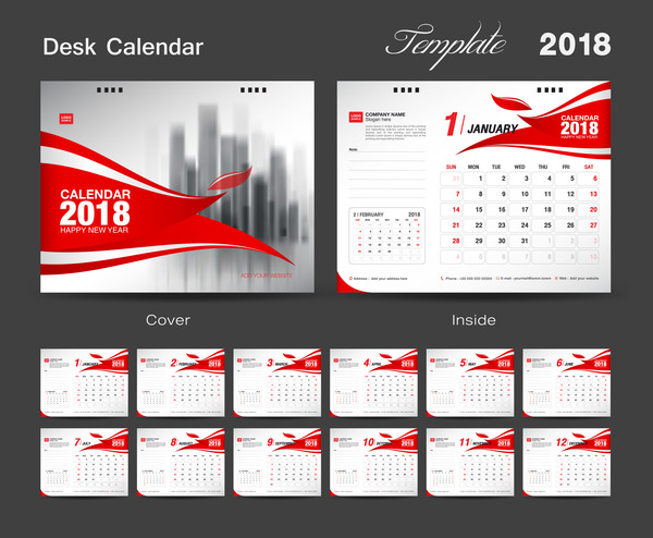 Calendar Cover 2018 : Set desk calendar template design red cover of
