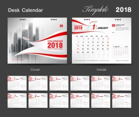 Desk Calendar 2018 template with red cover vector 12