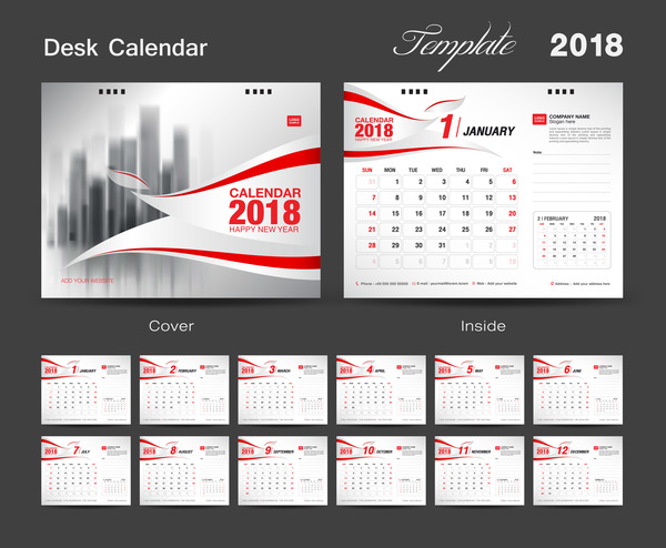Calendar Design With Photos Free : Desk calendar template with red cover vector