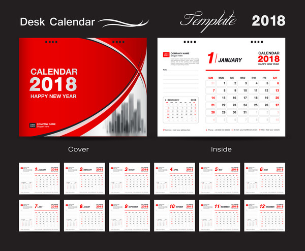 Desk Calendar 2018 template with red cover vector 13