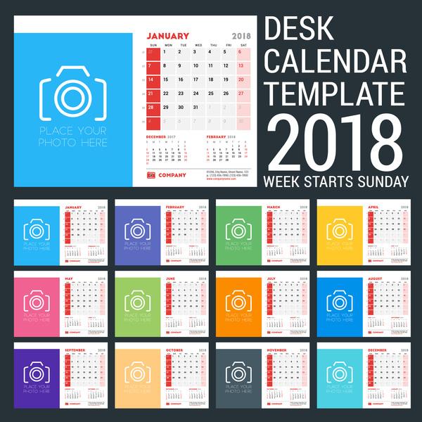 Desk calendar 2018 template vectors
