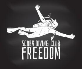 Diving club retro emblem design vector 01