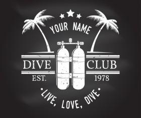 Diving club retro emblem design vector 02