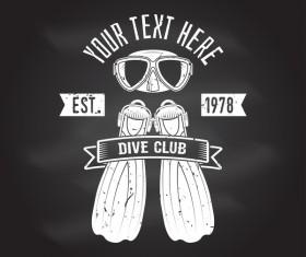 Diving club retro emblem design vector 03