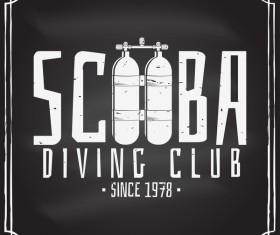 Diving club retro emblem design vector 04
