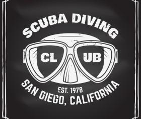 Diving club retro emblem design vector 05