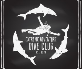 Diving club retro emblem design vector 06