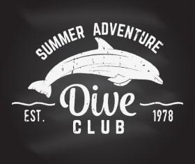 Diving club retro emblem design vector 07
