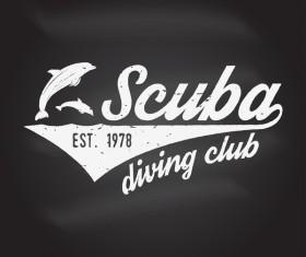 Diving club retro emblem design vector 08
