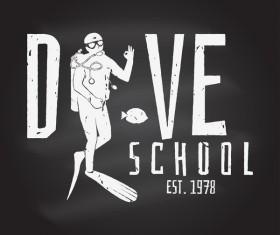 Diving club retro emblem design vector 09
