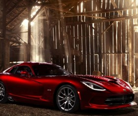 Dodge SRT red cool sports car Stock Photo
