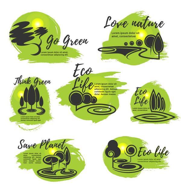 Eco life logos design vector