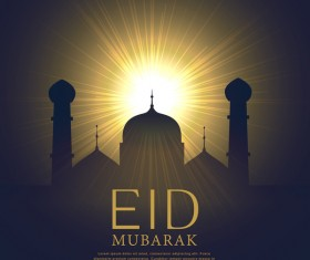 Eid mubarak background with sun light vector