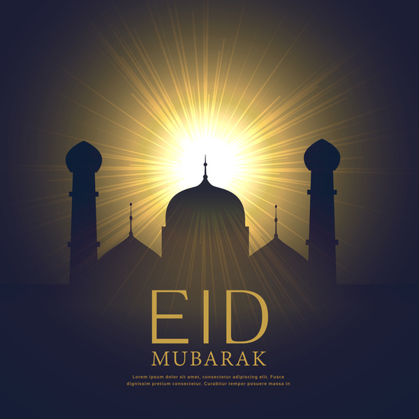 Eid mubarak background with sun light vector