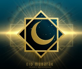 Eid mubarak decor background with shiny light vector