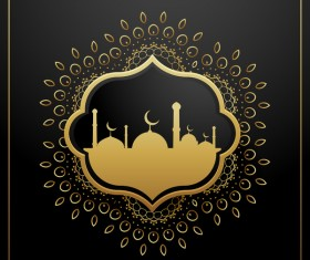 Eid mubarak decor frame with dark background vector