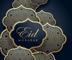 Eid mubarak decor labels with dark background vector 01