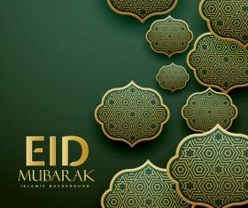 Eid mubarak decor labels with dark background vector 02