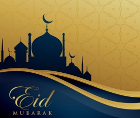 Eid mubarak decorative golden background vector