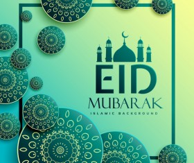 Eid mubarak islamic background with decor frame vector