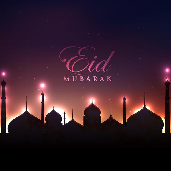 Eid mubarak night background design vector