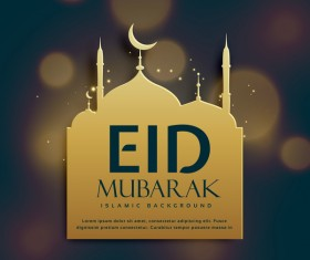 Eid mubarak with blurs background vector 01