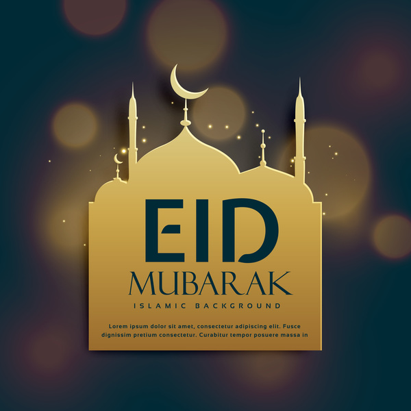 Eid mubarak with blurs background vector 01
