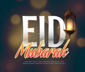 Eid mubarak with blurs background vector 02