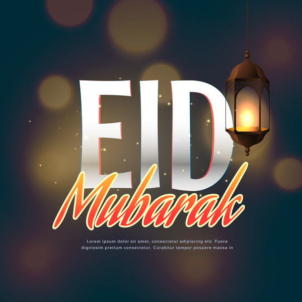 Eid mubarak with blurs background vector 02