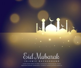 Eid mubarak with blurs background vector 03