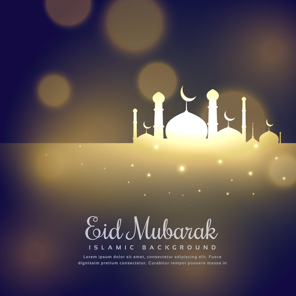 Eid mubarak with blurs background vector 03