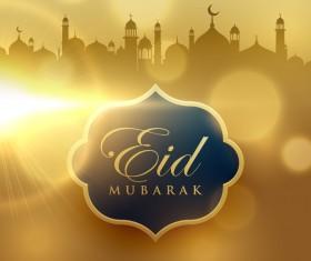 Eid mubarak with blurs background vector 04