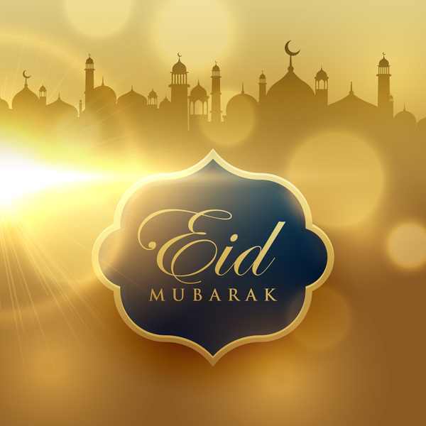 Eid mubarak with blurs background vector 04