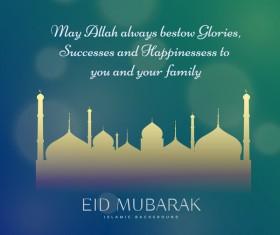 Eid mubarak with blurs background vector 05