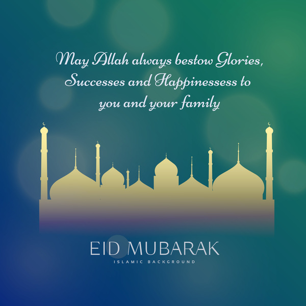Eid mubarak with blurs background vector 05