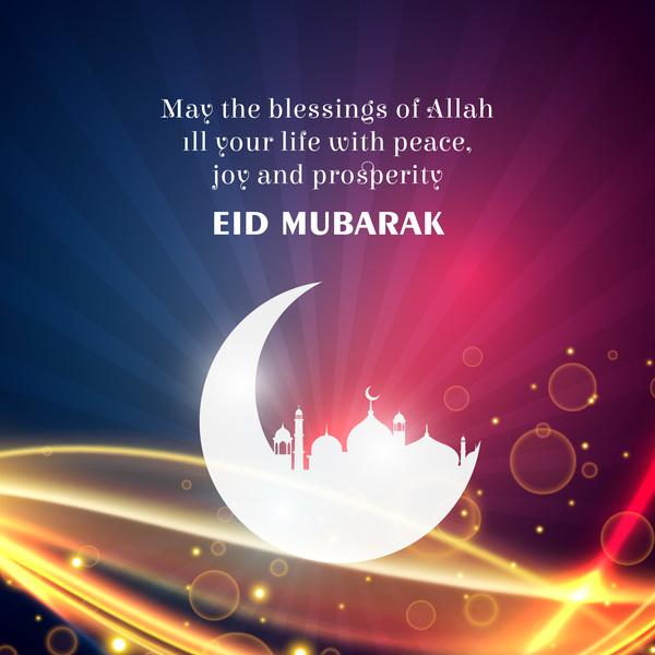 Eid mubarak with shining background design vector
