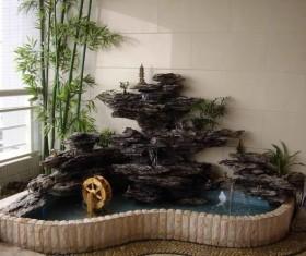 Elegant interior rockery fountain Stock Photo