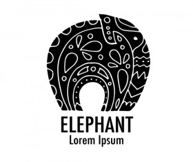 Elephant logos with decorative floral vecotr 01