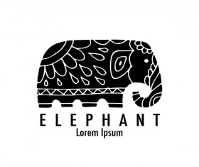 Elephant logos with decorative floral vecotr 02