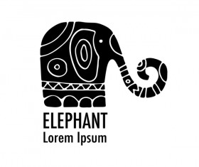 Elephant logos with decorative floral vecotr 03