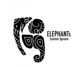 Elephant logos with decorative floral vecotr 06