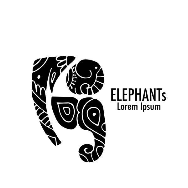 Elephant Logos With Decorative Floral Vecotr 06 Free Download