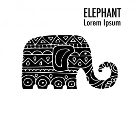 Elephant logos with decorative floral vecotr 07