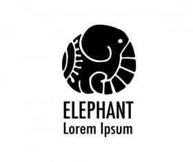 Elephant logos with decorative floral vecotr 08
