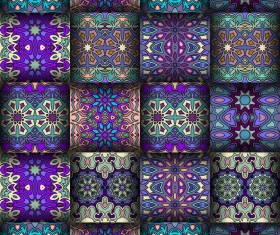 Fabric pattern ethnic vintage styles vectors 05