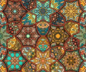 Fabric pattern ethnic vintage styles vectors 06