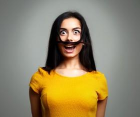 False beard woman Stock Photo