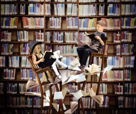 Fantastic library reading the child Stock Photo