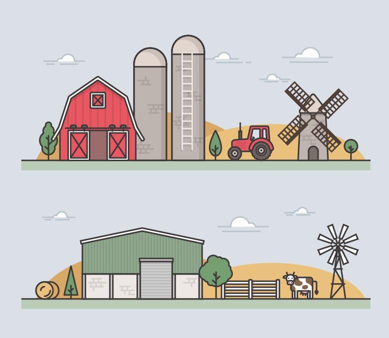 Farm flat template vector