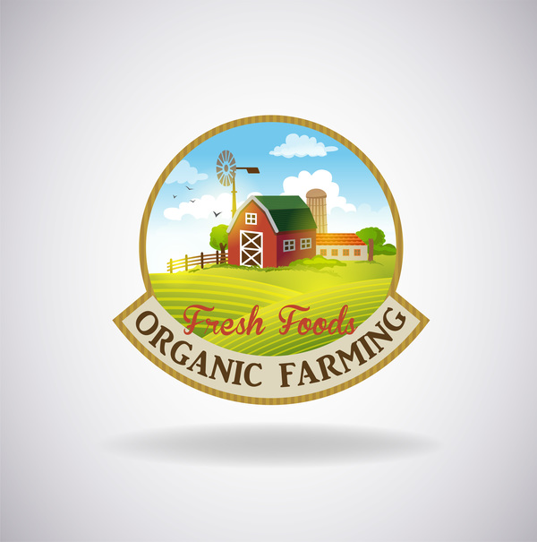 Farm natural fresh organic label design vector 01